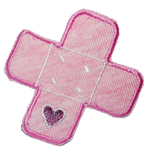 alles-meine.de GmbH Bügelbild - Pflaster - rosa / Herz - 5,2 cm * 5,2 cm - Aufnäher gewebter Flicken / Applikation - für Kinder Teddy Plüschtiere - Mädchen Jungen - Krank Kranken..
