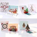 JinSu 3D Pop Up Tarjetas de Navidad con Sobres, 4Tarjetas de Felicitación de Navidad para Navidad y Año Nuevo, Santa, árbol de Navidad, Muñeco de Nieve, Patrones de Campana