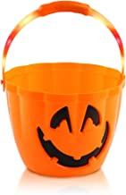 FUTUREPLUSX Halloween Light Up Pumpkin Bucket, Large Pumpkin Candy Bucket Orange Pumpkin Bucket Plastic Pumpkin Pails Jack...