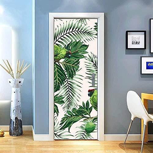 KEXIU 3D Loro de flores y frutas PVC fotografía adhesivo vinilo puerta pegatina cocina baño decoración mural 77x200cm