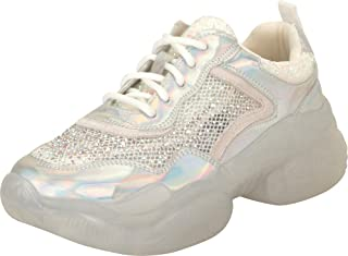 Cambridge Select Women's Retro 90s Ugly Dad Iridescent Glitter Crystal Rhinestone Lace-Up Chunky Platform Fashion Sneaker