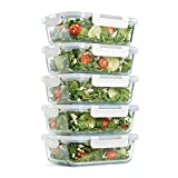 Fit & Fresh Glass Containers, Set of 5 Containers with Locking Lids, Meal