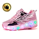 ANXWA - Ruedas LED para skate con ruedas con carga USB para niños, patines con ruedas, zapatos, ruedas, zapatillas con ruedas, rosa, 33