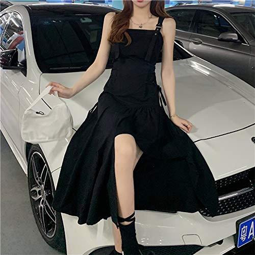 YUNCHENG Hot Girl Black Sustender Vestido Femenino Diseño Sense Little Black Vestido 2021 Nuevo Verano Oscuro Negro Corbata Falda Larga (Size : Small)