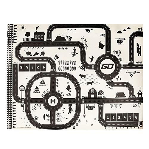 Auto-Spielmatte, 101,6 x 127 cm, Kinder-Verkehrs-Stadtkarte, Parkplatz, Straßen, Macaron, zufällige Farbe, Mini-Fahrzeuge, 18 Stück Verkehrszeichen, baumwolle, One Mat+one Car+traffic Sign,130X100CM