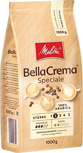 Melitta Ganze Kaffeebohnen, 100{6580a72c490911b5ecc6ed39eb5d7301087f9d34a55872ef82d24c2f7805addf} Arabica, milder Geschmack, leichter Charakter, Stärke 2, BellaCrema Speciale, 1kg