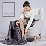 [5 Year Warranty] WOOMER Electric Heated Throw Blanket(50'x 62'), Soft Flannel Fast Heating Blanket with Multi-Color Option, 4 Heating Levels & 4H Auto Off, Machine Washable, Over-Heat Protection