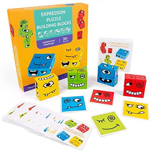 Bloques de rompecabezas emocionales, cubos de rompecabezas de emoticonos geométricos interesantes (incluidas...