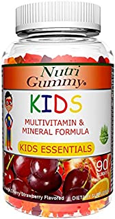 Nutri Gummy Kids Multivitamin & Mineral Formula for Active Kids, Gluten-Free Gummy, Cherry, Strawberry, Lemon, Orange and Grape Flavored, 90 Gummies