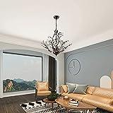 Maxax 4 Lights Vintage Crystal Chandelier, Modern K9 Clear Ceiling Light Fixtures, Adjustable Hanging Pendant Lighting, E12 Base, for Dinning Room, Living Room, Bedroom, Black