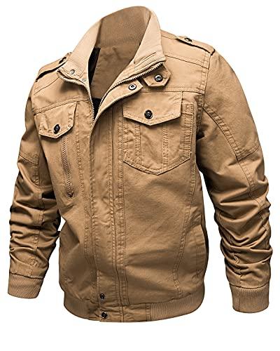 KTWOLEN Chaquetas de carga de los hombres Casual Militar Algodón Multi Bolsillos Chaquetas cortavientos al aire libre Stand Collar Abrigo, caqui, XL