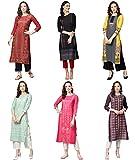 Vaamsi Women's PrinteN Polyester Straight Kurta Combo (Pack of 6) (COPK(1758-1760-1762-1779-1795-1797) N_M_MulticoloureN)