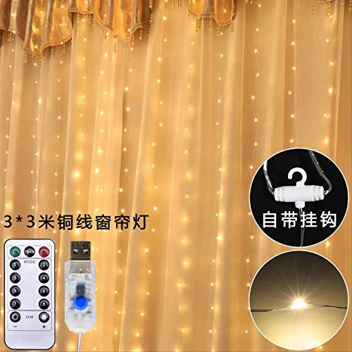 CFLFDC Lichtsnoer met afstandsbediening, waterdicht, led-touwlamp, USB, waterval, lamp, 3 x 3 lichtgordijnen, warm licht van harddraad, wit, 3 x 1 m, 100 lampen, USB, 8 functies en afstandsbediening