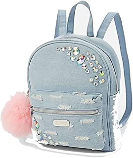 distressed denim backpack