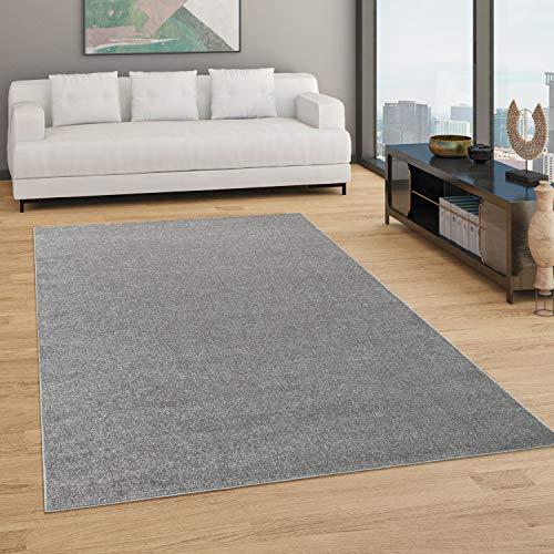 Paco Home Teppich Wohnzimmer Einfarbig Schlicht Und Modern Kurzflor, Versch. Größen Farben, Grösse:120x170 cm, Farbe:Anthrazit
