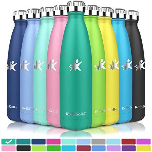 KollyKolla Vakuum Isolierte Edelstahl Trinkflasche, 750ml BPA Frei Wasserflasche Auslaufsicher, Thermosflasche für Kinder, Schule, Mädchen, Sport, Outdoor, Fahrrad, Büro, Fitness (Voll Smaragd)