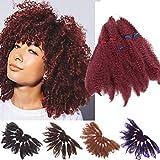 6 Paquetes Marley Trenzado de Pelo a Granel Sintético Twist Pelo Rizado Afro Kinky Trenzas Twist Crochet Trenzado Extensiones de Cabello 28cm Rojo oscuro