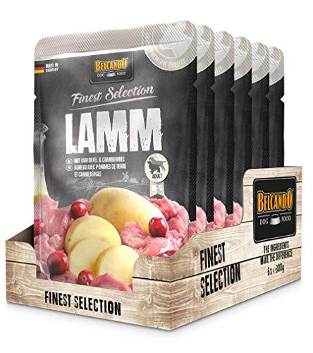 Belcando Frischebeutel [6x300g]   Nassfutter für Hunde   Feuchtfutter Alleinfutter im Einzelportionsbeutel (Lamm mit Kartoffel & Cranberries, 300 g)