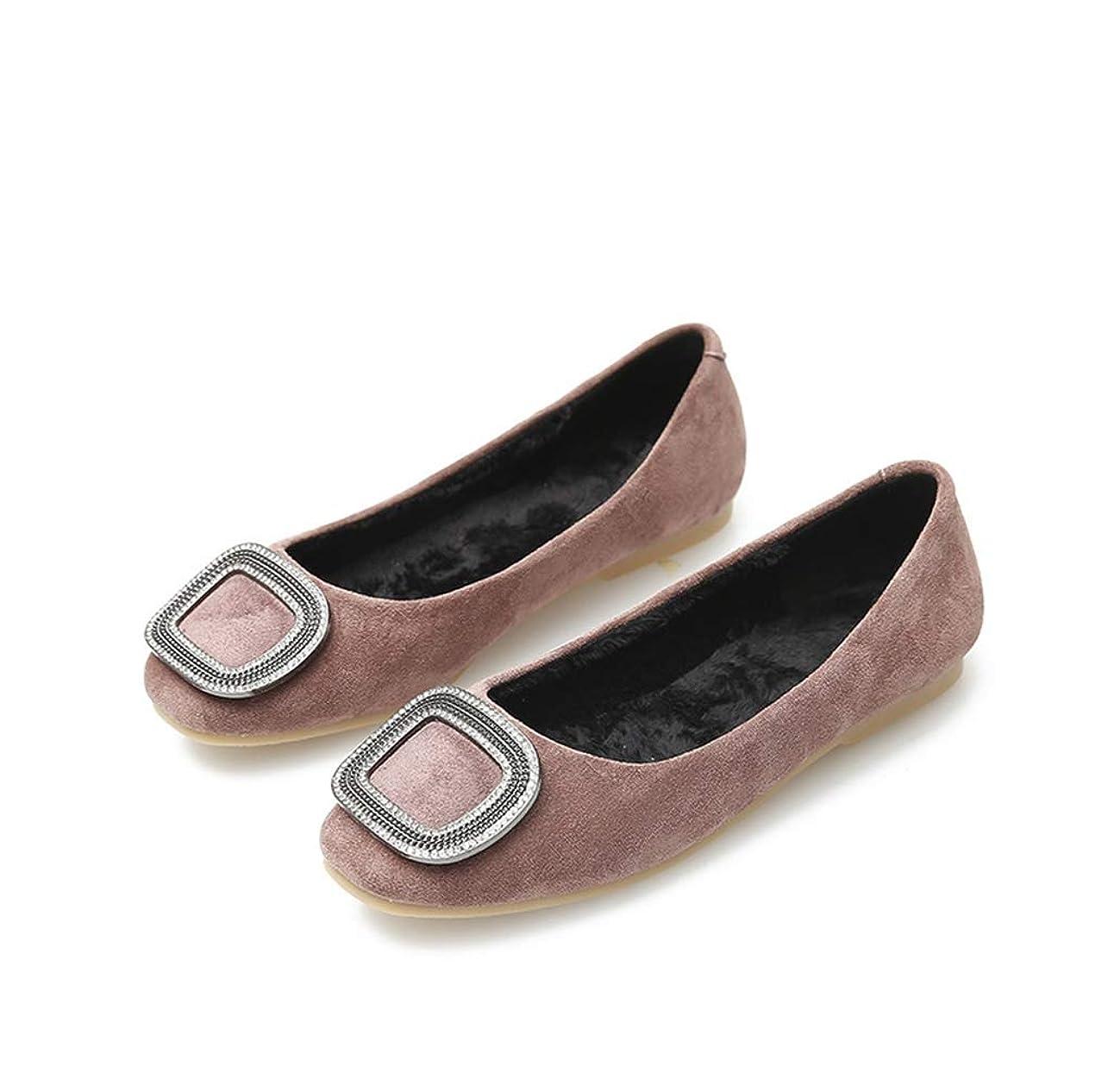 空虚好きである急行するパンプス 痛くない ローヒール 26.0cm ぺたんこ 大きいサイズ 歩きやすい 旅行 疲れない ヒール 小さいサイズ 黒 ブラック 走れる 立ち仕事 おしゃれ ピンク裏起毛 フラットシューズ レディース靴 スエード バックル スクエアトゥ 痛くない