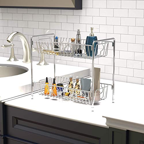 SimpleHouseware 2-Tier Spice Rack Kitchen Organizer Countertop Shelf, Chrome