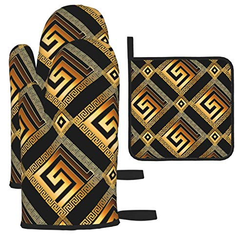Oven Mitts and Pot Holders 3pcs,Geometric Modern Greek Key D Seamless Pattern ,BBQ Gloves with Quilted Liner Resistant Hot Pads for Kitchen Cooking Grilling