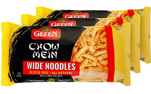 Gefen Gluten Free Wide Chow Mein Noodles, 8 Ounce (3 Pack) Ready To Eat, All Natural, Airy & Crisp