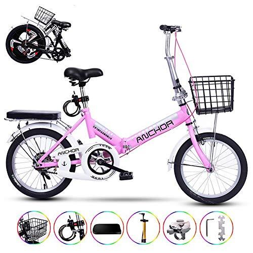 TopJiä Ligero Bicicleta Plegable para Mujeres,Barato Adulto Bicicleta De Ciudad con Una Canasta,Velocidad única Marco De Aluminio Mini Bicicleta para Ciudad Ciclismo Street Conmutar A
