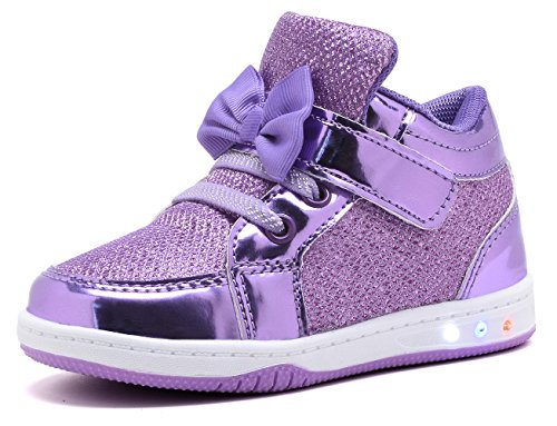 YILAN YL313 Toddler Glitter Shoes Girl's Flashing Sneakers With Cute Bowknot PUR-6