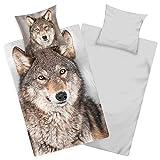 Aminata Kids - Biber Bettwäsche 135x200 Kinder Wolf-Motiv Tier-Motiv Baumwolle, grau, bunt, Wölfe Natur Wald-Tiere - Reißverschluss, warm, weich & kuschelig Warme Wende-Biber-Kinder-Bettwäsche-Set