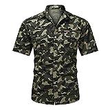Camisa táctica de Camuflaje para Hombre Tops de Manga Corta Tops del ejército Camisa de Combate del ejército Camisetas Hombre Al Aire Libre Senderismo Ropa de Caza Green XXL