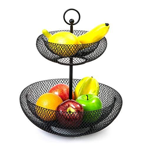 mossFlos Obst Etagere, 2 stöckig Dekorativer Obstschale Metall, Obstkorb Etagere für mehr Platz auf der Arbeitsplatte - Etageren mit Obstschalen(Schwarz)