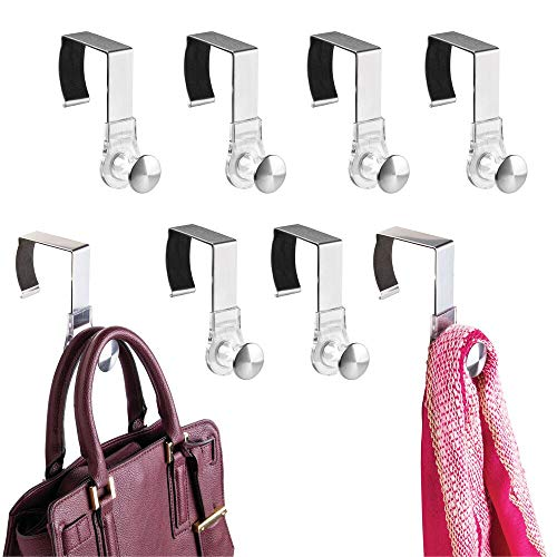 mDesign Modern Metal and Plastic Office Over The Cubicle Storage Organizer Hooks - Wall Panel Hangers for Hanging Accessories, Coats, Hats, Purses, Bags, Keychain - 8 Pack - Clear/Brushed