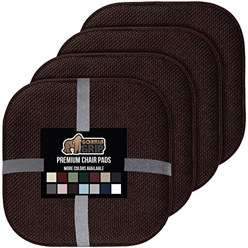 Gorilla Grip Original Premium Memory Foam Chair Cushions, 4 Pack, 16x16 Inch, Thick Comfortable Seat Cushion Pad, Large Size, Slip Resistant, Durable Soft Mat Pads for Office, Kitchen Chairs, Brown