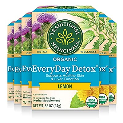 Traditional Medicinals Organic Lemon Everyday DetoxTea, 16 bags (Pack of 6) by Traditional Medicinals