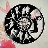 Fantasy Basket-Ball Dunk Creative Sports Thème LP Vinyle Horloge Murale Record Décor À La Main Art Personnalité Cadeau