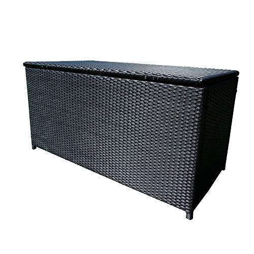 UISEBRT Rattan Auflagenbox Kissenbox Wasserdicht 115 x 55 x 57 cm - Gartenbox 360L mit Aluminium-Gasfeder - bis 150 kg belastbar schwarz