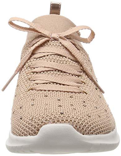 Skechers Ultra Flex-Strolling out, Zapatillas Mujer, Rosado (Ros Black Knit Mesh/Gold & White Trim), 37 EU