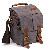 Camera Bag, RUN ANT Vintage Waterproof Canvas Camera Bag DSLR SLR Shockproof Camera Shoulder Messenger Bag Camera Case Small Camera Bag for Nikon, Canon, Sony - 7 x 5.9 x 9 Inches