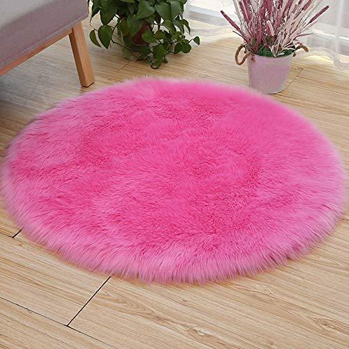 Alfombra de piel de oveja sintética, ultra suave, cómoda, esponjosa, lavable, moderna decoración para el hogar, ideal para dormitorio, sala de estar, balcón, diámetro: 140 cm, color rosa