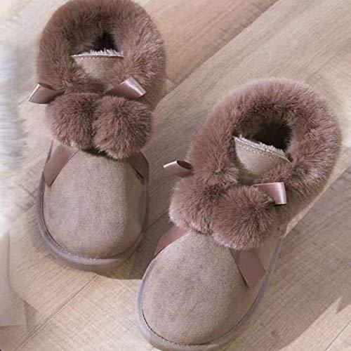S-vision Botas de nieve de plataforma para mujer, cálidas y casuales, cómodas, con forro de piel, botas de tobillo antideslizantes, para caminar con pasta de frijoles, CN37 = EU38 = US7 = UK5 = JP24