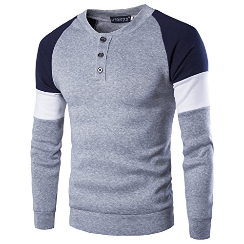 WSLCN Homme Sweat-Shirt Sport Pullover T-Shirt Boutonné Pulls à Manches Courtes Col Rond Slim Casual Sweater Couleur Contraste Gris FR L (Asie 2XL)
