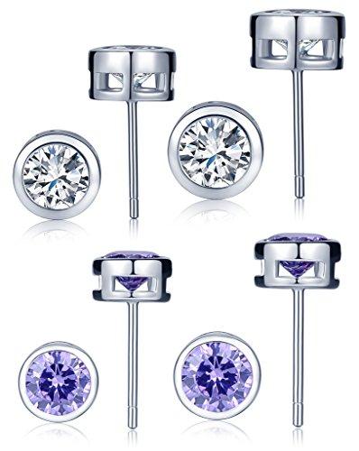 Yumilok 4 pares de pendientes básicos de plata de ley 925, color blanco/lila, con circonitas, para mujeres y niñas