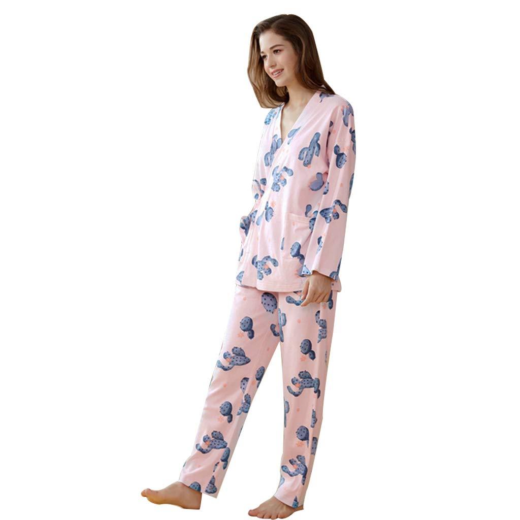 Meng Wei Shop Pijamas de algodón Conjunto de Pijamas de algodón japonés de Manga Larga para Mujer Pijamas Calientes de otoño e Invierno de Las Mujeres (Color : Pink, Size : 165cm):