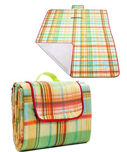 Betz Picknickdecke Maxi Reisedecke Stranddecke Campingdecke Isomatte Outdoor wasserdicht Größe 200x150 cm Farbe gelb/grün