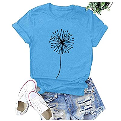 Vedolay Shirts for Women Fashion Round Neck Printing Print Tee Shirt Casual Short Sleeve T-Shirt Top Blouses (Blue, Small)