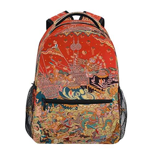 Thailändisches Wandbild Elefant Thailand Schulter Rucksack Bookbag für Teen Jungen Mädchen Kinderrucksack Laptop Büchertasche Rucksäcke