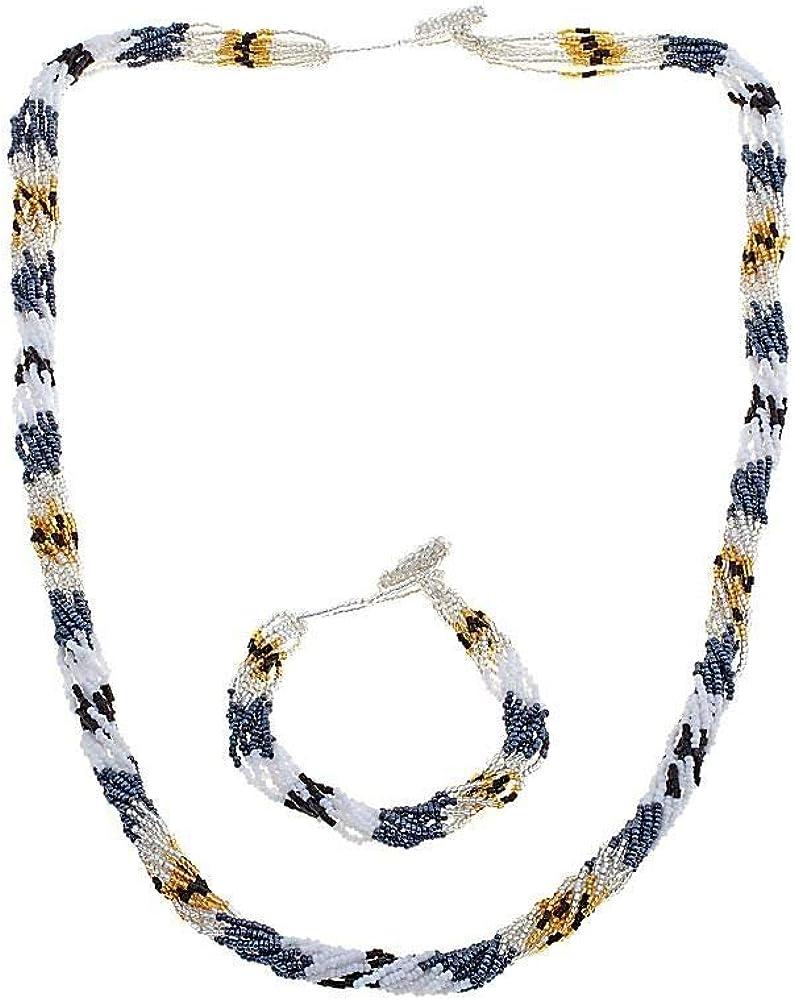 Himalayan Gems Multistrand Potay Bead Bracelet and Necklace Set