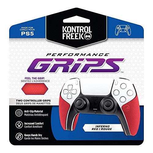 KontrolFreek Puños de rendimiento para Playstation 5 Controller (PS5)   Inferno Red