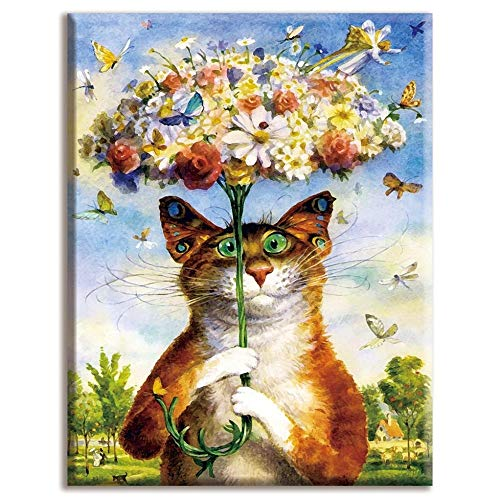 Kreuz-Stich-Voll Stickerei-Katze mit Blumen-Regenschirm weißen Leinwand 40x50cm Baumwollfaden Diy Needlework Kits