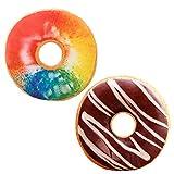LZYMSZ 2PCS 3D Donut de Simulation, Coussin Lombaire en Peluche, Oreiller de Coussin de Beignet au Chocolat pour Canapé/Voiture/Chambre/Bureau/Dortoir Noël, Anniversaire (1)
